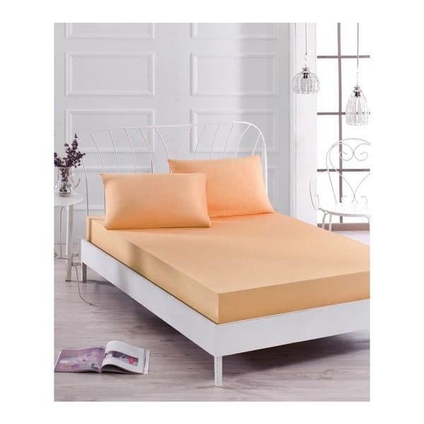 Basso Pomme halvány narancssárga lepedő és 2 párnahuzat szett egyszemélyes ágyhoz, 160 x 200 cm