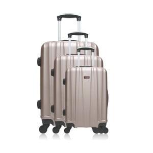 Sada 3 cestovních kufrů zlaté barvy na kolečkách Hero Poppy