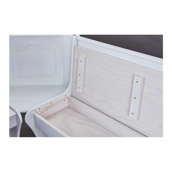 Set bílé rohové lavice, jídelního stolu a 2 jídelních židlí Interlink Donau