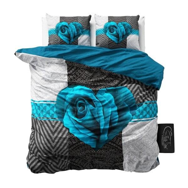 Lenjerie de pat din bumbac Dreamhouse Garden Rose, 240 x 200 cm, turcoaz