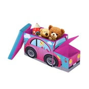 Taburet pentru copii cu spațiu depozitare Jocca Pink Car