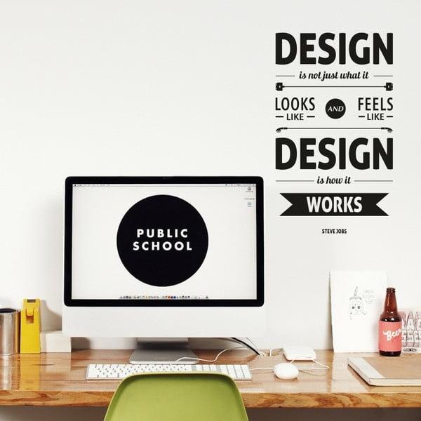 Samolepka na stěnu Design by Steve Jobs, černá