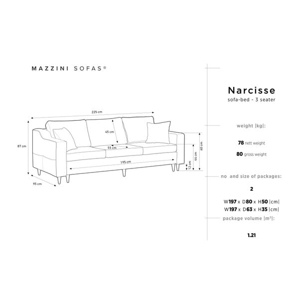 Antracitová třímístná rozkládací pohovka s úložným prostorem Mazzini Sofas Narcisse