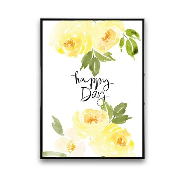 Plakát se žlutými květinami Happy Day, 30 x 40 cm
