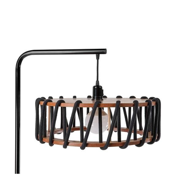 Stojací lampa s černou konstrukcí a velkým černým stínidlem EMKO Macaron