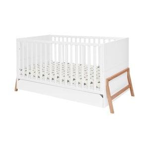 Pătuț pentru copii cu sertar BELLAMY Lotta,70x140cm, alb