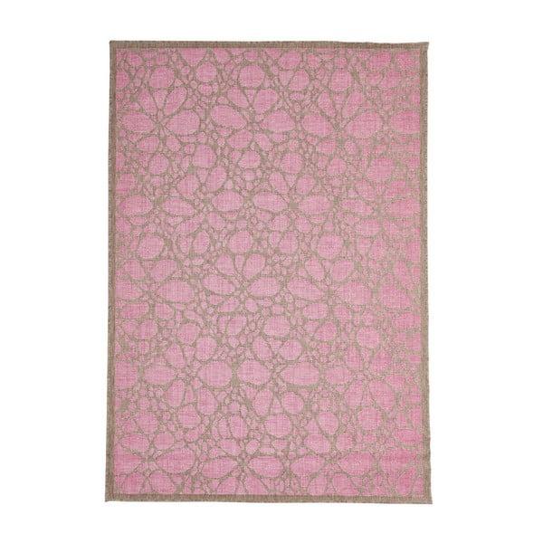 Růžový venkovní koberec Floorita Fiore, 135 x 190 cm