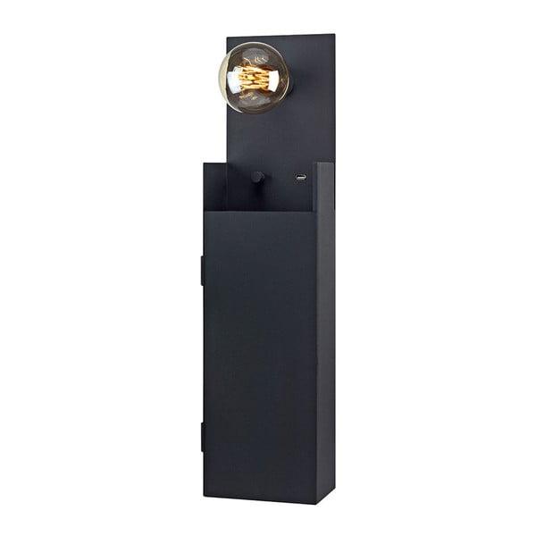 Černé nástěnné světlo se skříňkou Markslöjd Combo