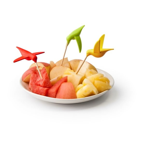 Set 6 scobitori pentru aperitive Qualy&CO Humming Bird Party Fork