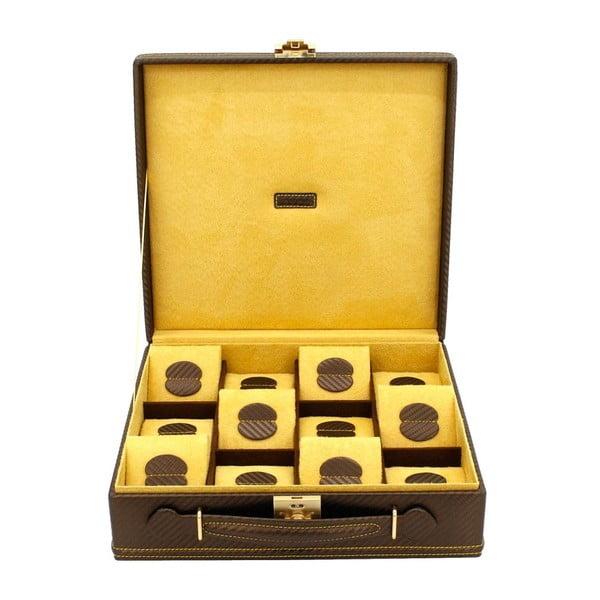 Hnědý box na 12 hodinek Friedrich Lederwaren Carbon