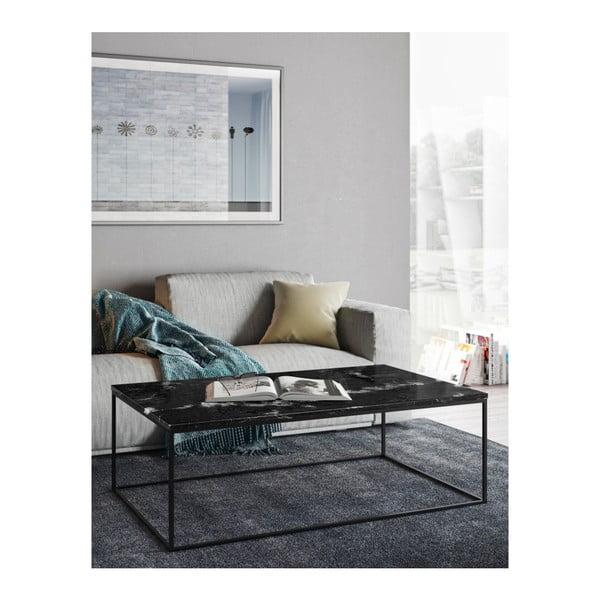 Černý mramorový konferenční stolek s černými nohami TemaHome Gleam, 75 x 120cm