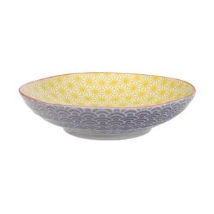Fialovo-žlutý porcelánový talíř na těstoviny Tokyo Design Studio Star/Wave