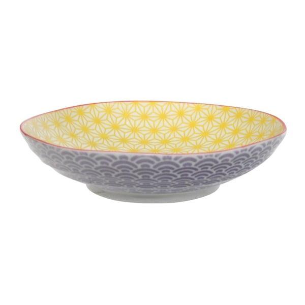 Star/Wave lila-sárga porcelán tányér tésztához - Tokyo Design Studio