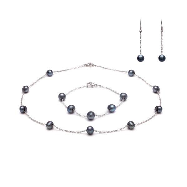 Sada náhrdelníku a náramku z říčních perel GemSeller Albus, černé perly