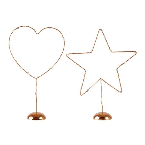 Set 2 decorațiuni cu LED pentru masă, KJ Collection, 22,5 cm, arămiu