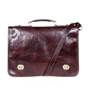Tmavě hnědá kožená taška přes rameno Italia in Progress Trovatore