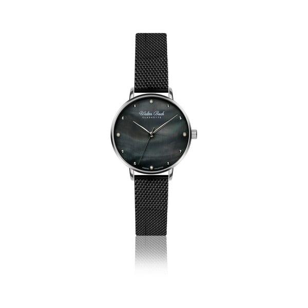 Dámské hodinky s černým páskem z pravé kůže a 4 diamanty Walter Bach Perfect