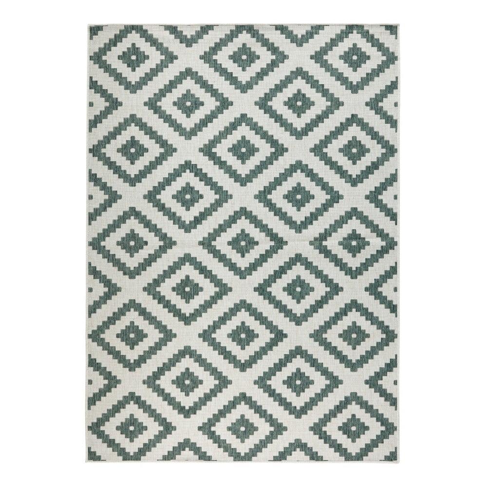 Zeleno-krémový vzorovaný oboustranný koberec vhodný i na ven bougari Malta, 120x170 cm