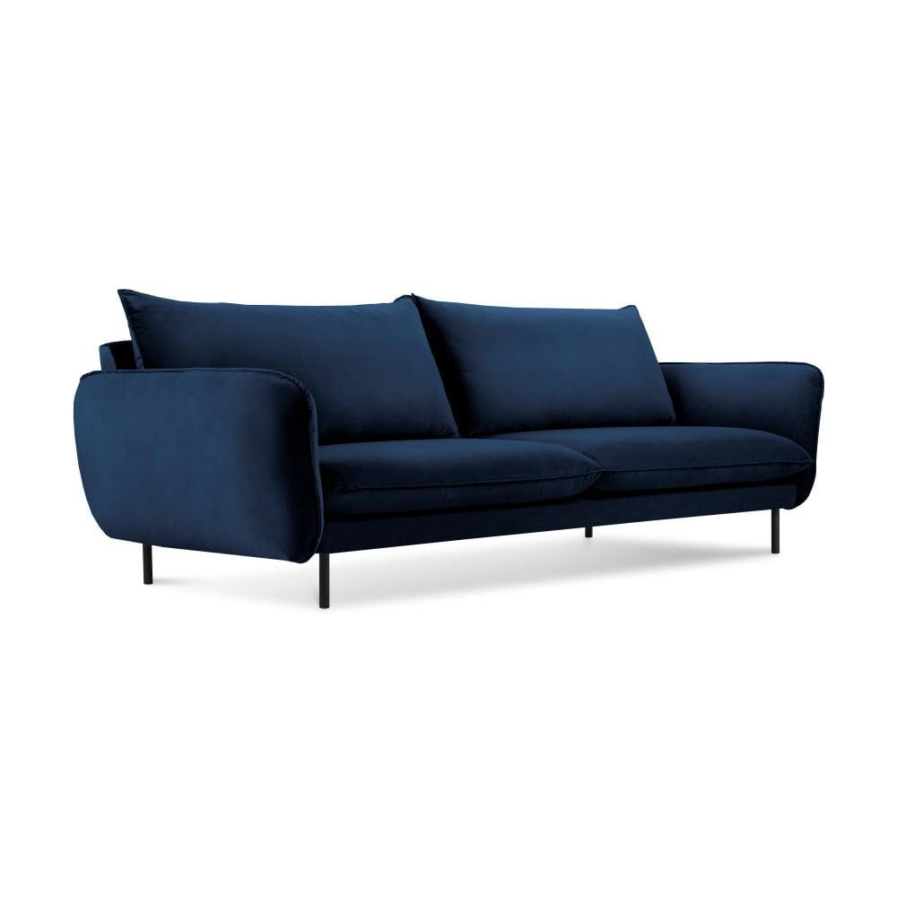 Produktové foto Modrá sametová pohovka Cosmopolitan Design Vienna, 230 cm