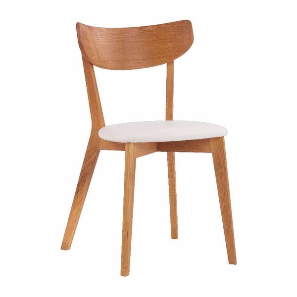Brązowe dębowe krzesło do jadalni z białym siedziskiem Rowico Ami