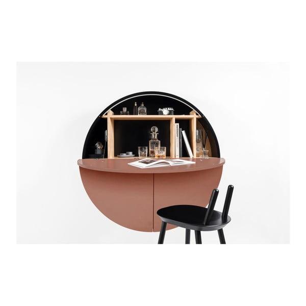 Černo-růžový nástěnný multifunkční stůl EMKO Pill