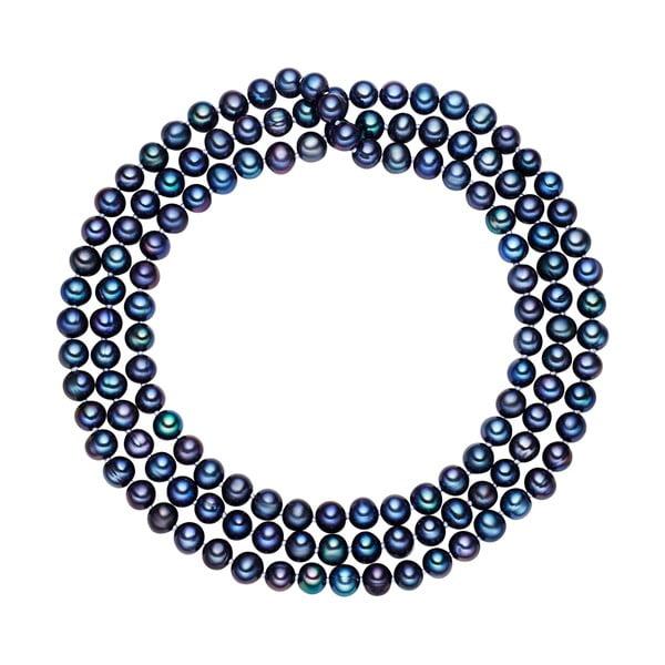 Modrý perlový náhrdelník Chakra Pearls, 90 cm