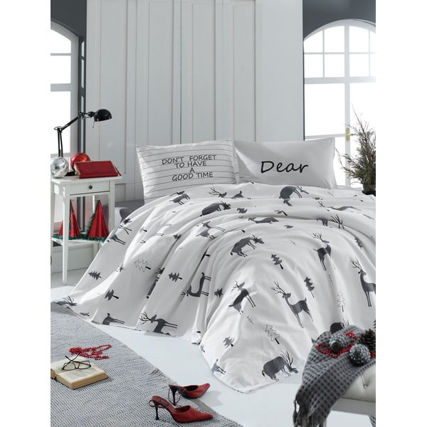 Cuvertură matlasată ușoară din bumbac pentru pat dublu Mijolnit GoodTime White, 260 x 220 cm, alb