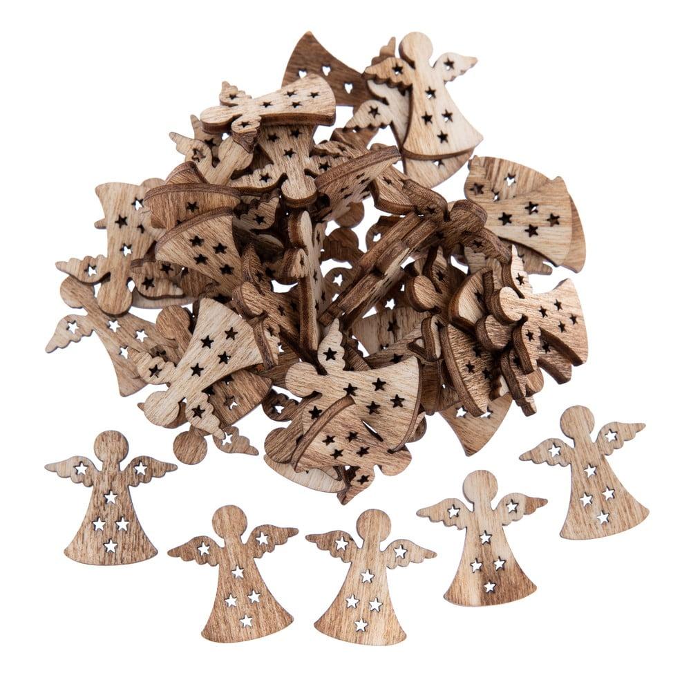 Sada 50 dřevěných houpacích ozdob ve tvaru anděla Dakls