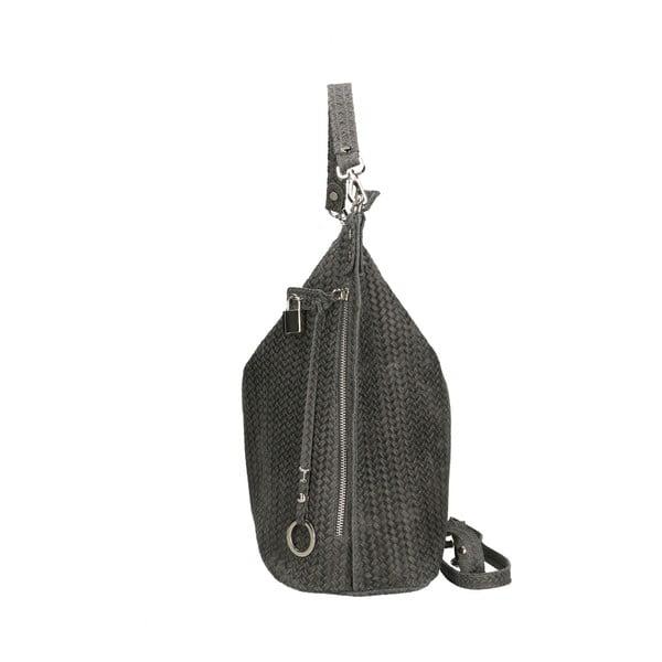 Tmavě šedá kožená kabelka Chicca Borse Perla