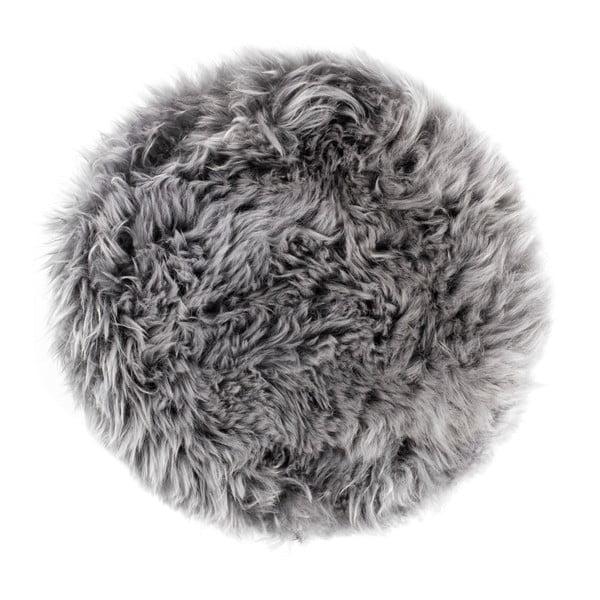 Sivý sedák z ovčej kožušiny na jedálenskú stoličku Royal Dream, Ø35 cm