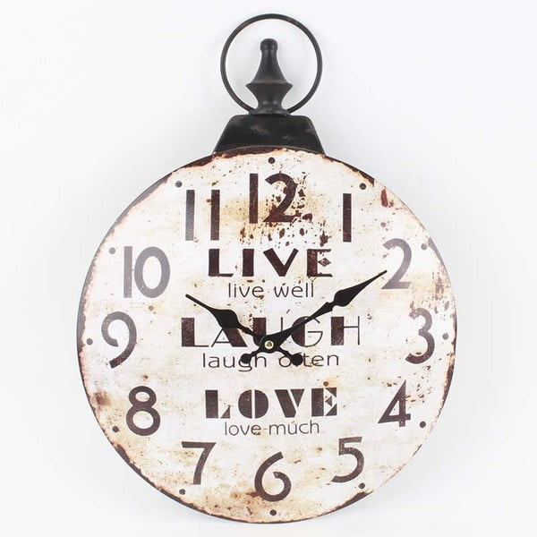 Hodiny Live Laught Love, 46x33,5 cm