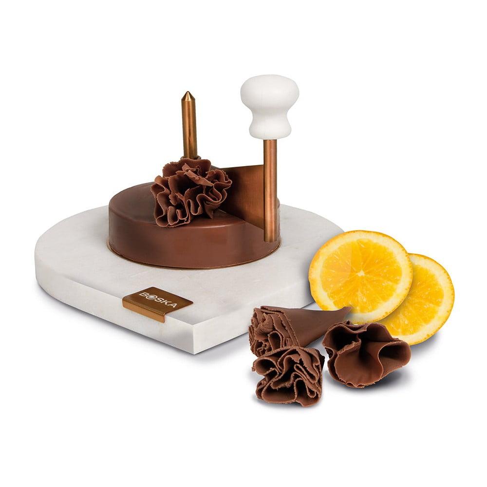 Mramorové prkýnko s čepelí na krájení čokolády Boska Choco Curler Marble