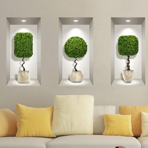 Set 3 autocolante 3D pentru perete Ambiance Plants Ball
