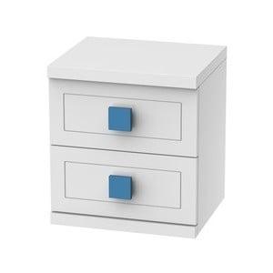 Bílý noční stolek s 2 šuplíky Trébol Mobiliario Aura