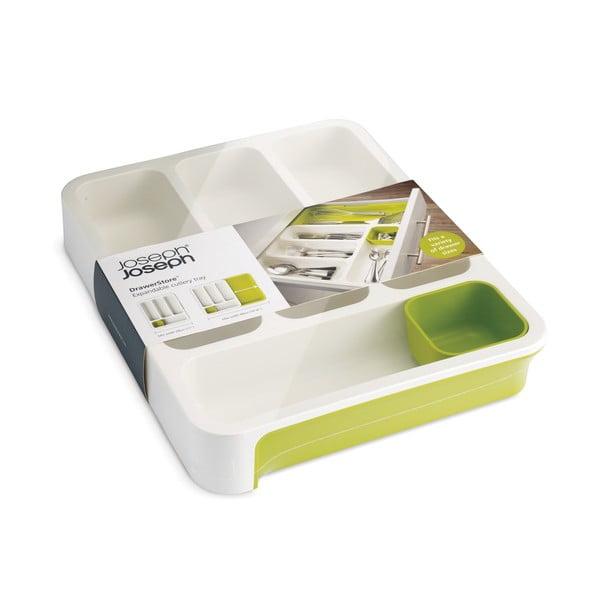 Biało-zielony wkład na sztućce do szuflady Joseph Joseph Drawer Store Cutlery