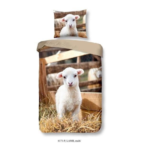 Lenjerie de pat pentru copii din bumbac pur Good Morning Lamb, 140 x 200 cm