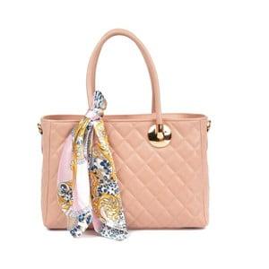 Pudrově růžová kožená kabelka Carla Ferreri Floriana