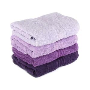 Sada 4 fialových bavlněných ručníků Rainbow,50x90cm