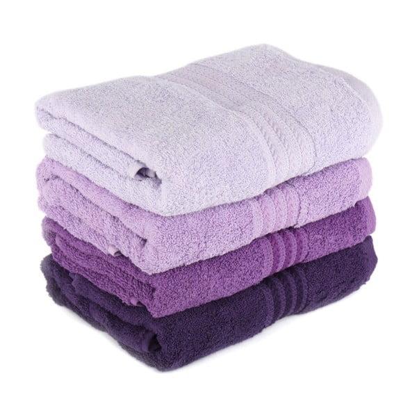 Sada 4 fialových bavlnených uterákov Rainbow, 50×90cm