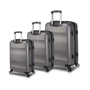 Sada 3 šedých cestovních kufrů na kolečkách s USB porty My Valice LASSO Travel Set