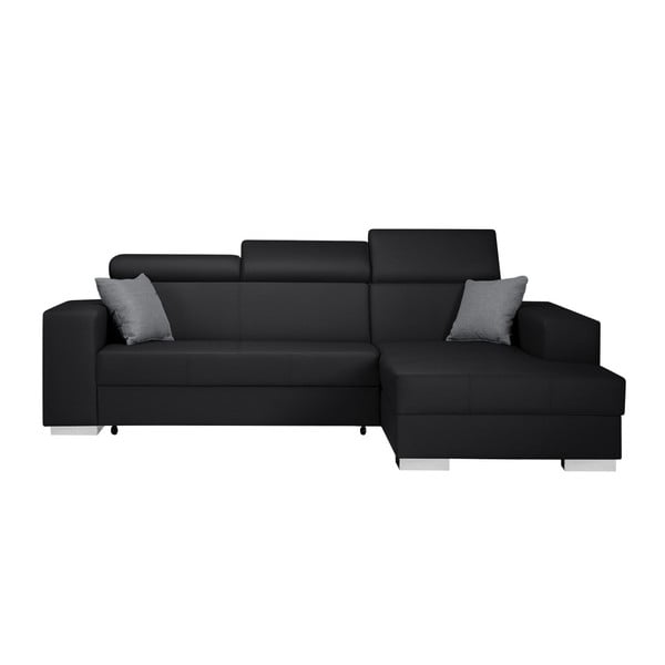 Čierno-sivá rozkladacia sedačka Interieur De Famille Paris Tresor, pravý roh