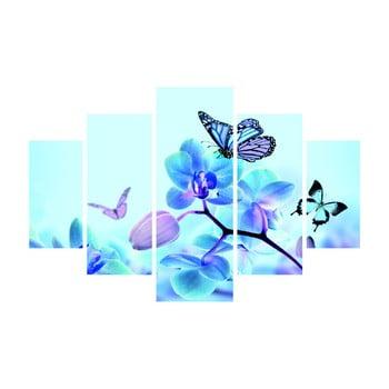 Tablou din mai multe piese Sakura And Butterfly, 92 x 56 cm