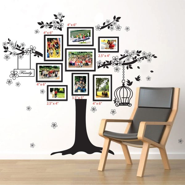 Samolepka na stěnu Walplus Strom s rámečky na fotky