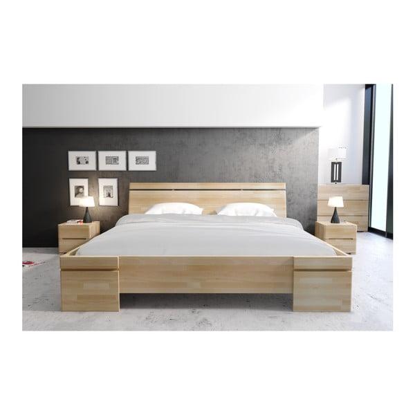 Pat dublu din lemn de fag, cu spațiu de depozitare, SKANDICA Sparta Maxi, 200 x 200 cm