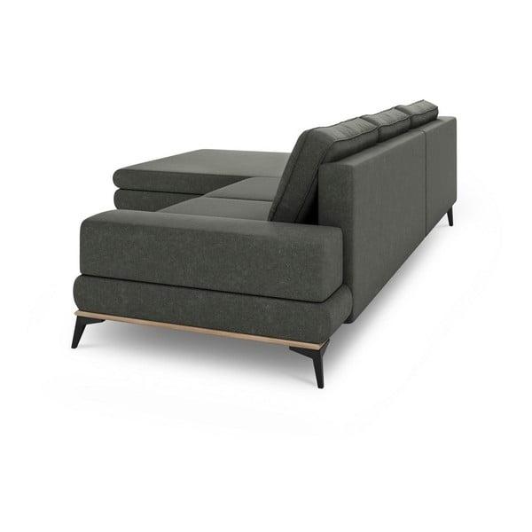 Canapea extensibilă de colț Windsor & Co Sofas Planet, pe partea stângă, gri închis