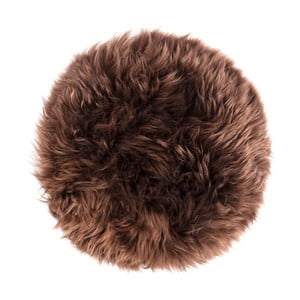 Tmavě hnědý sedák z ovčí kožešiny na jídelní židli Royal Dream, ⌀ 35cm