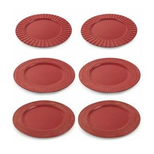 Sada 6 červených vánočních dekorativních plastových talířů Villa d'Este XMAS Piatto Rosso Moderno, ⌀ 33 cm