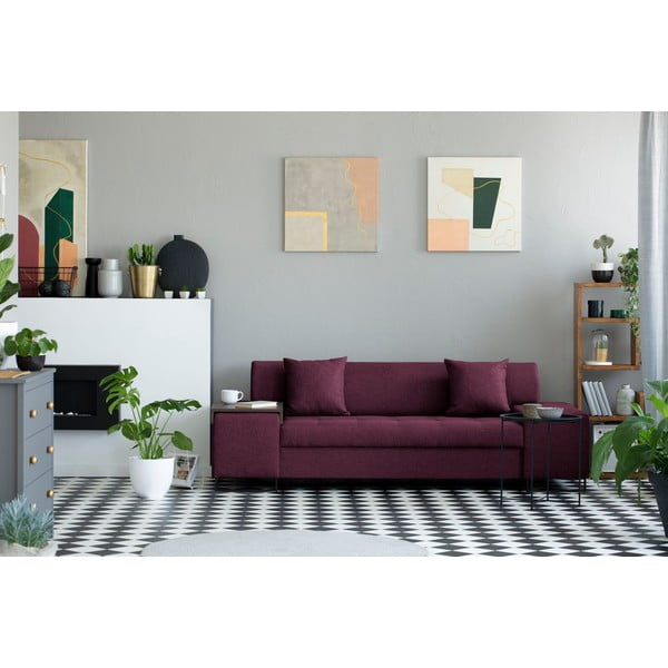 Fialová trojmístná pohovka s nohami v černé barvě Cosmopolitan Design Orlando