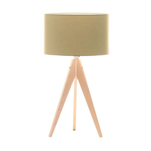 Zelená stolní lampa Artist, bříza, Ø 33 cm