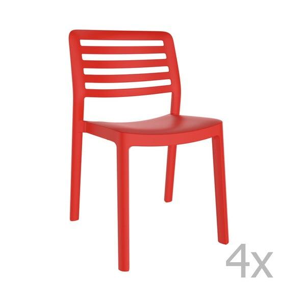 Sada 4 červených zahradních židlí Resol Wind